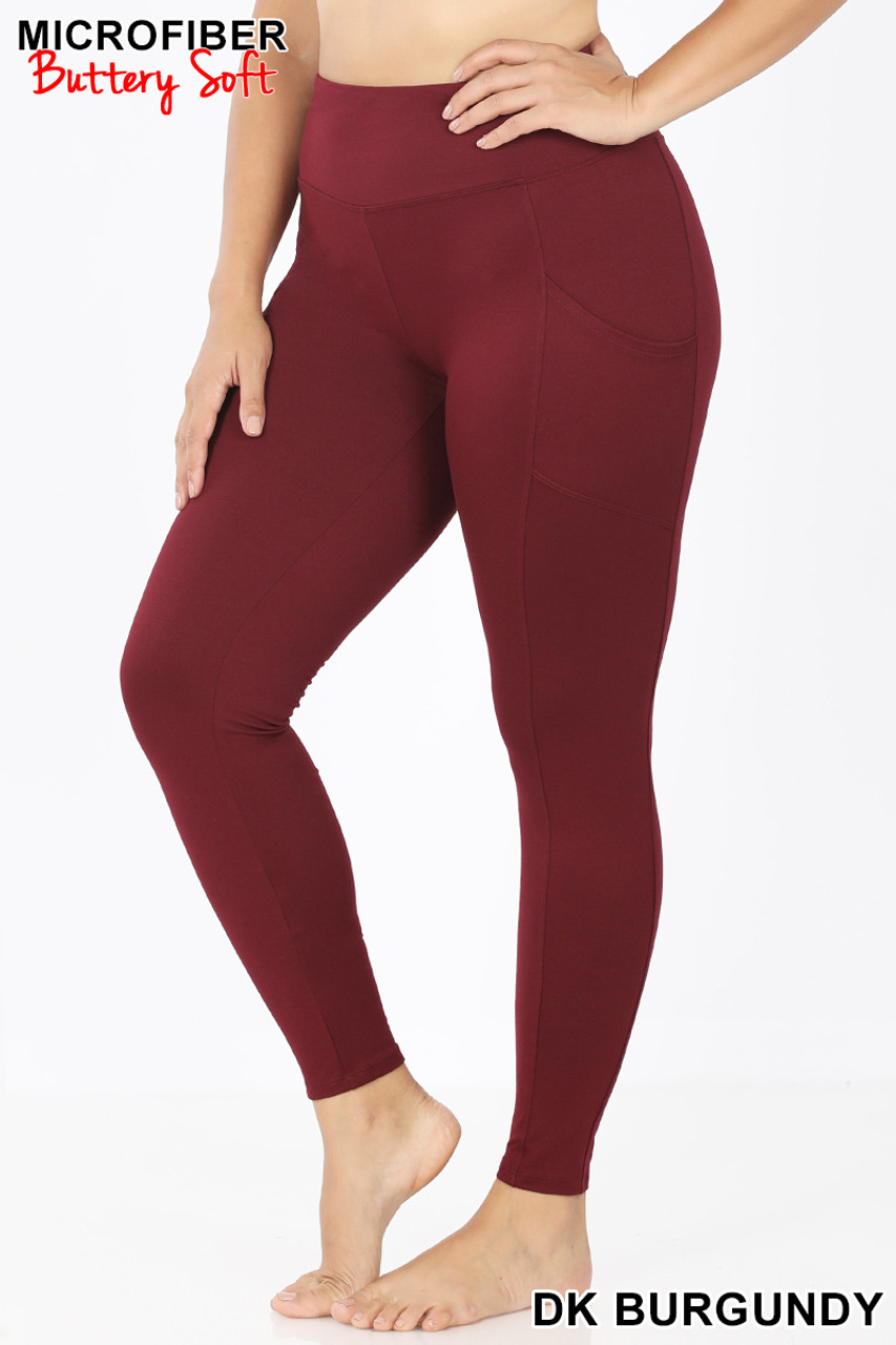 Left side view of Burgundy Brushed Microfiber High Waisted Plus Size Sport Leggings with Side Pockets
