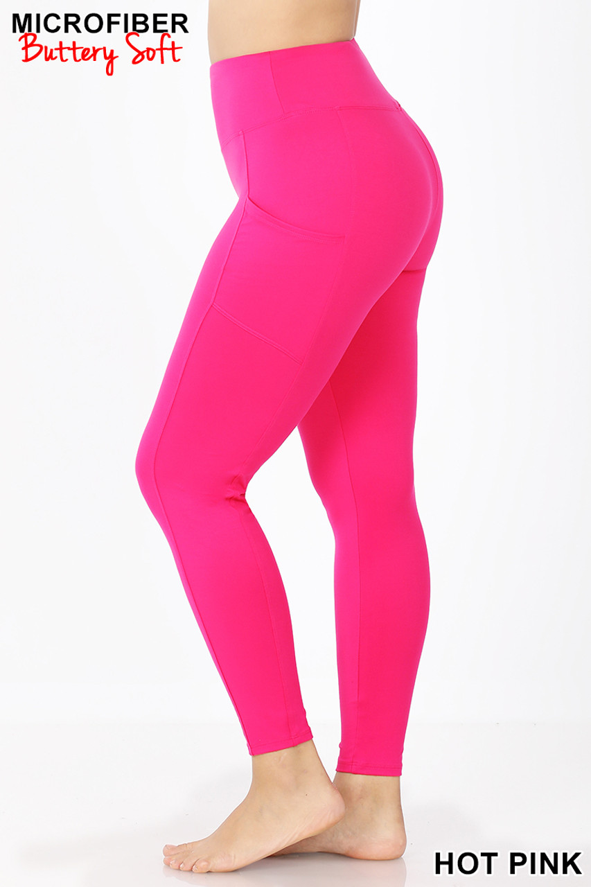 Left side view of Hot Pink Brushed Microfiber High Waisted Plus Size Sport Leggings with Side Pockets