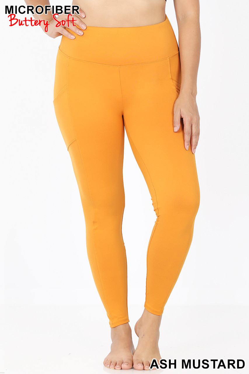 Front view of Ash mUstard Brushed Microfiber High Waisted Plus Size Sport Leggings with Side Pockets