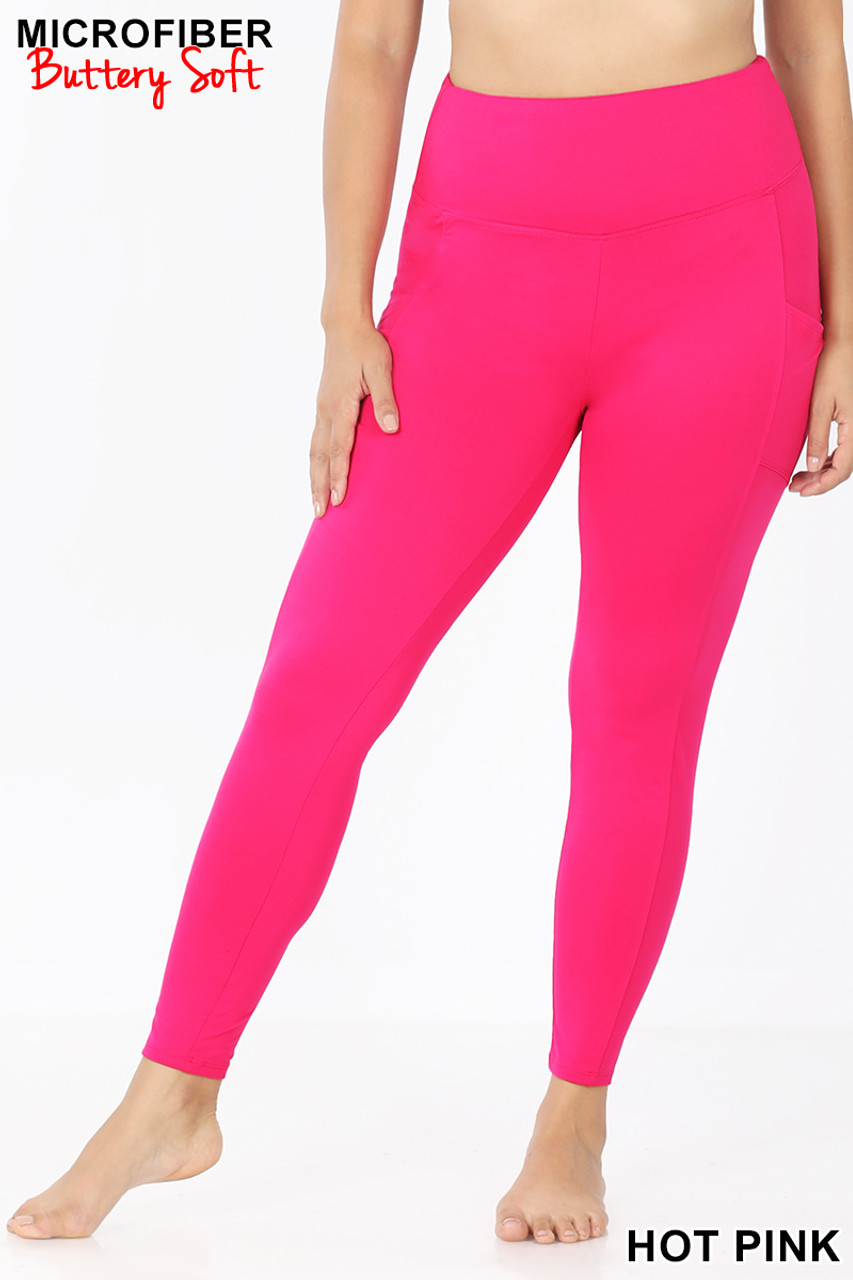 Front view of Hot Pink Brushed Microfiber High Waisted Plus Size Sport Leggings with Side Pockets