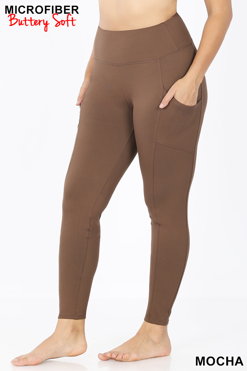 45 degree view of Mocha Brushed Microfiber High Waisted Plus Size Sport Leggings with Side Pockets