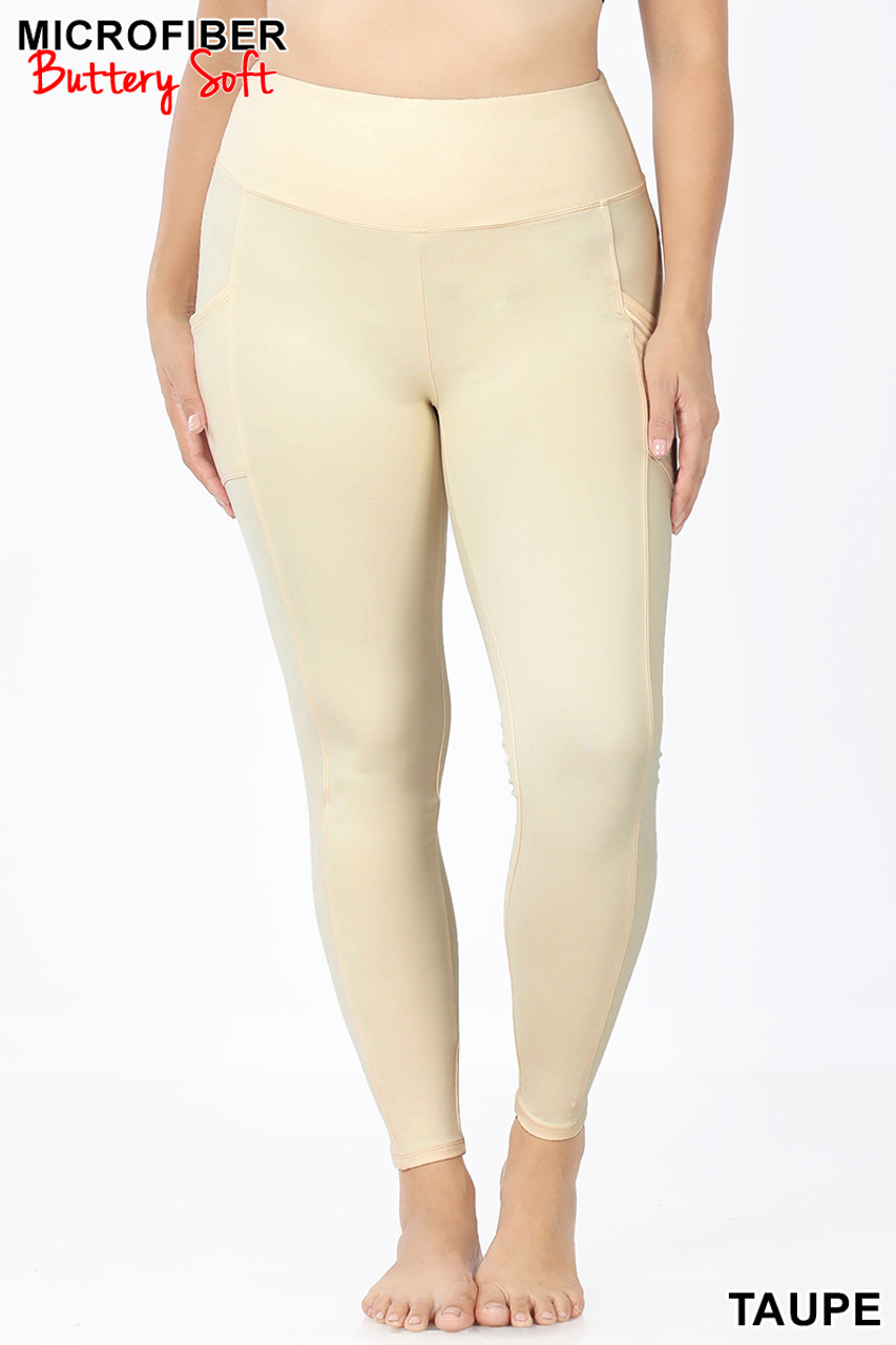 Front view of Taupe Brushed Microfiber High Waisted Plus Size Sport Leggings with Side Pockets