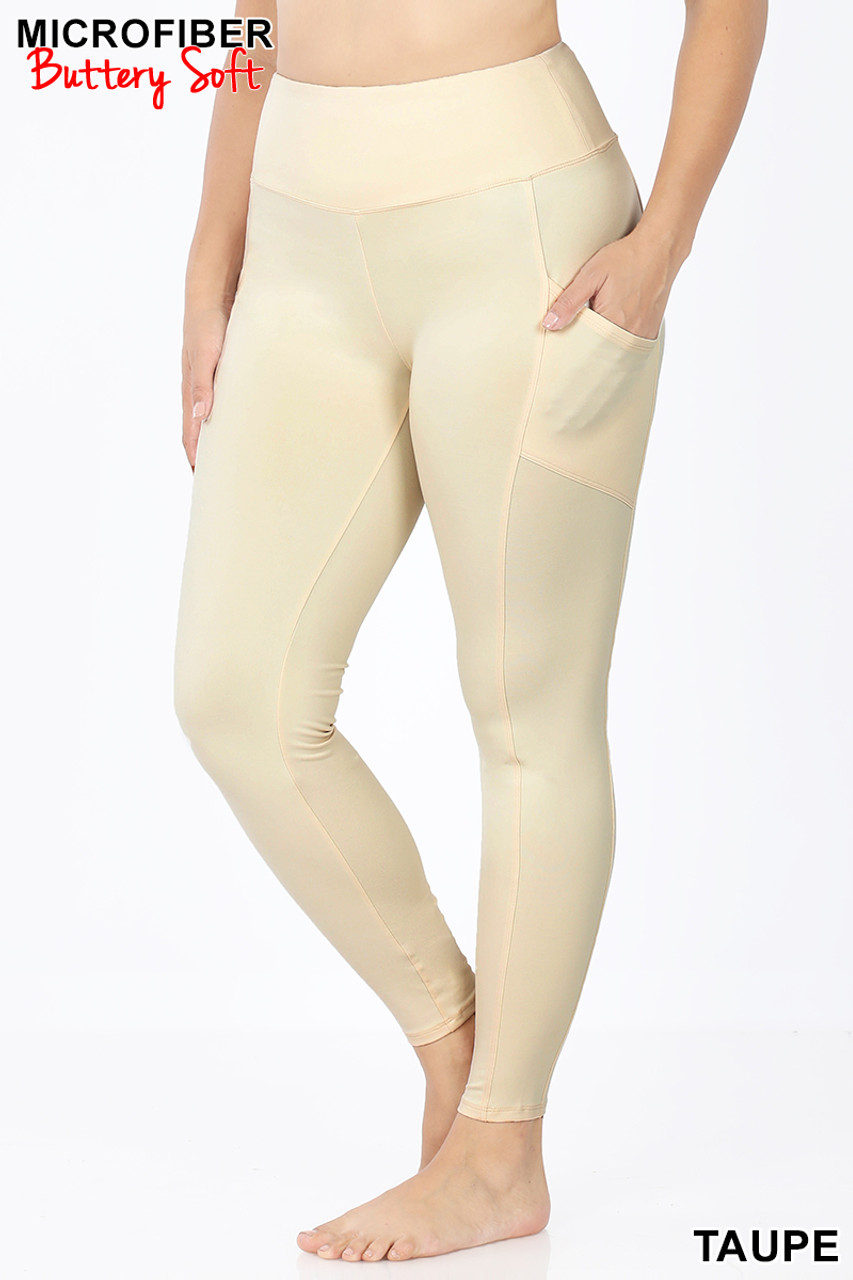 45 degree view of Taupe Brushed Microfiber High Waisted Plus Size Sport Leggings with Side Pockets