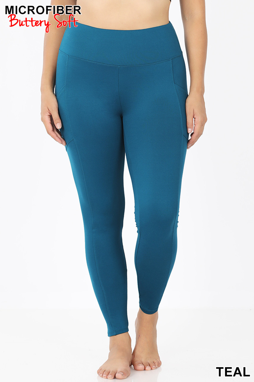 Front view of Teal Brushed Microfiber High Waisted Plus Size Sport Leggings with Side Pockets