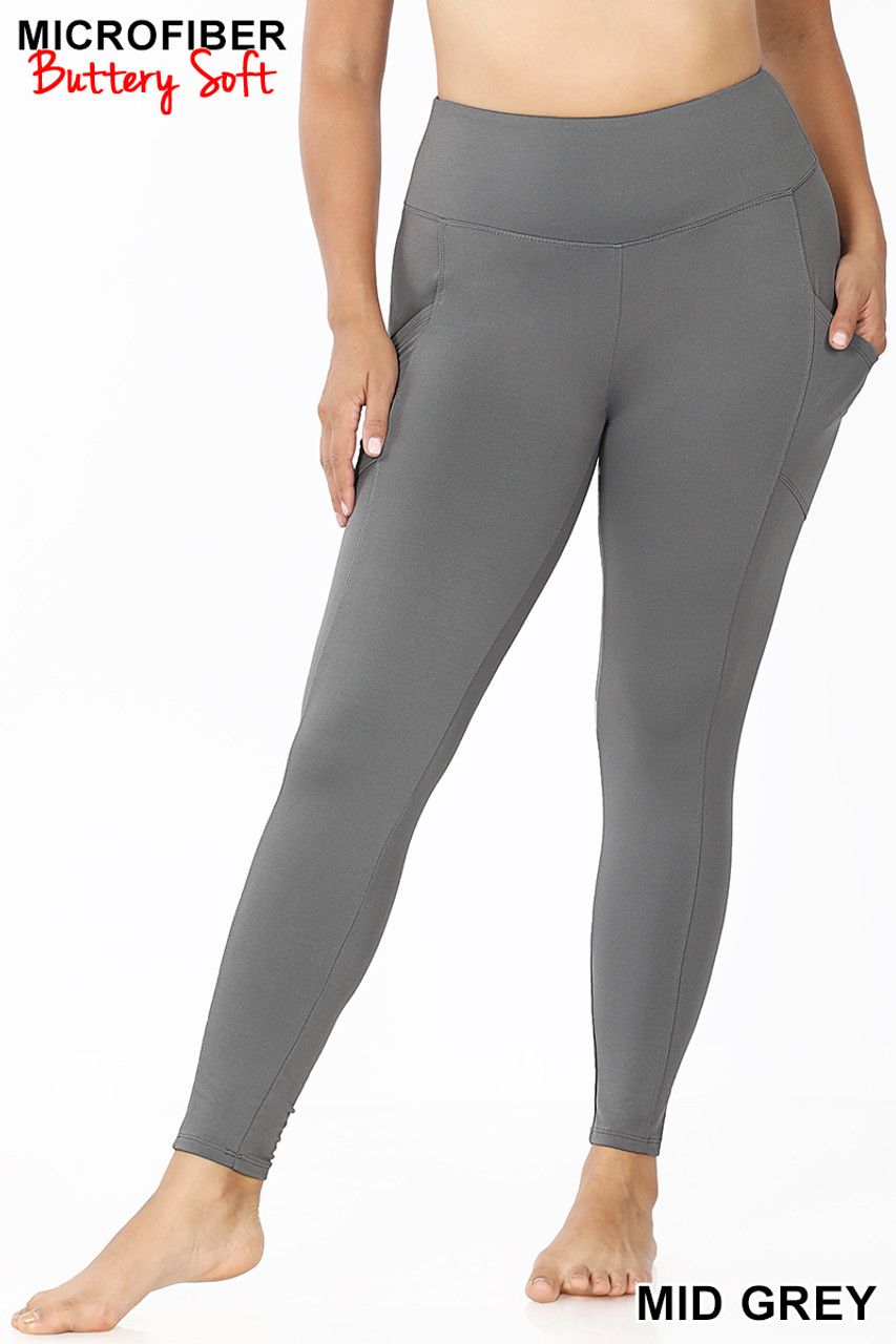 Front view of Mid Grey Brushed Microfiber High Waisted Plus Size Sport Leggings with Side Pockets