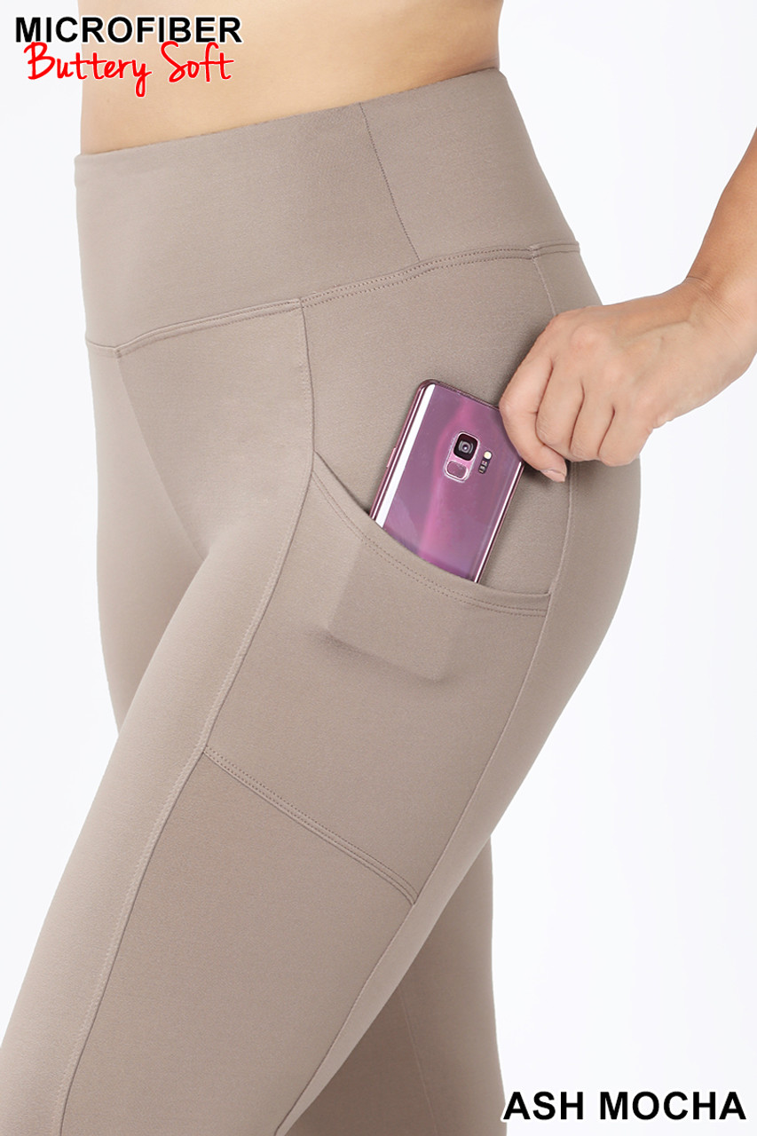 Close up view of Ash Mocha Brushed Microfiber High Waisted Plus Size Sport Leggings with Side Pockets