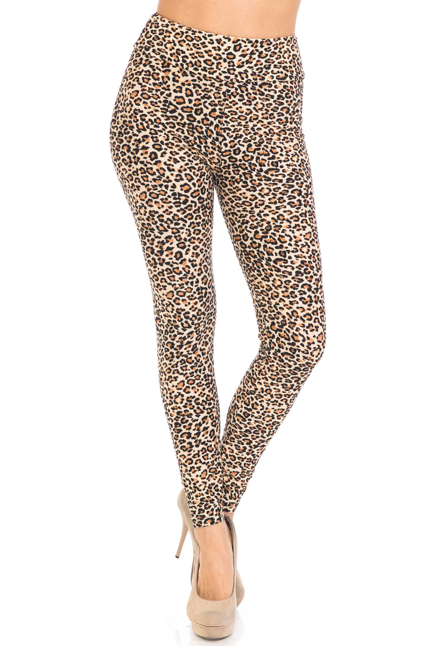Front view of full length Buttery Soft Savage Leopard High Waisted Leggings
