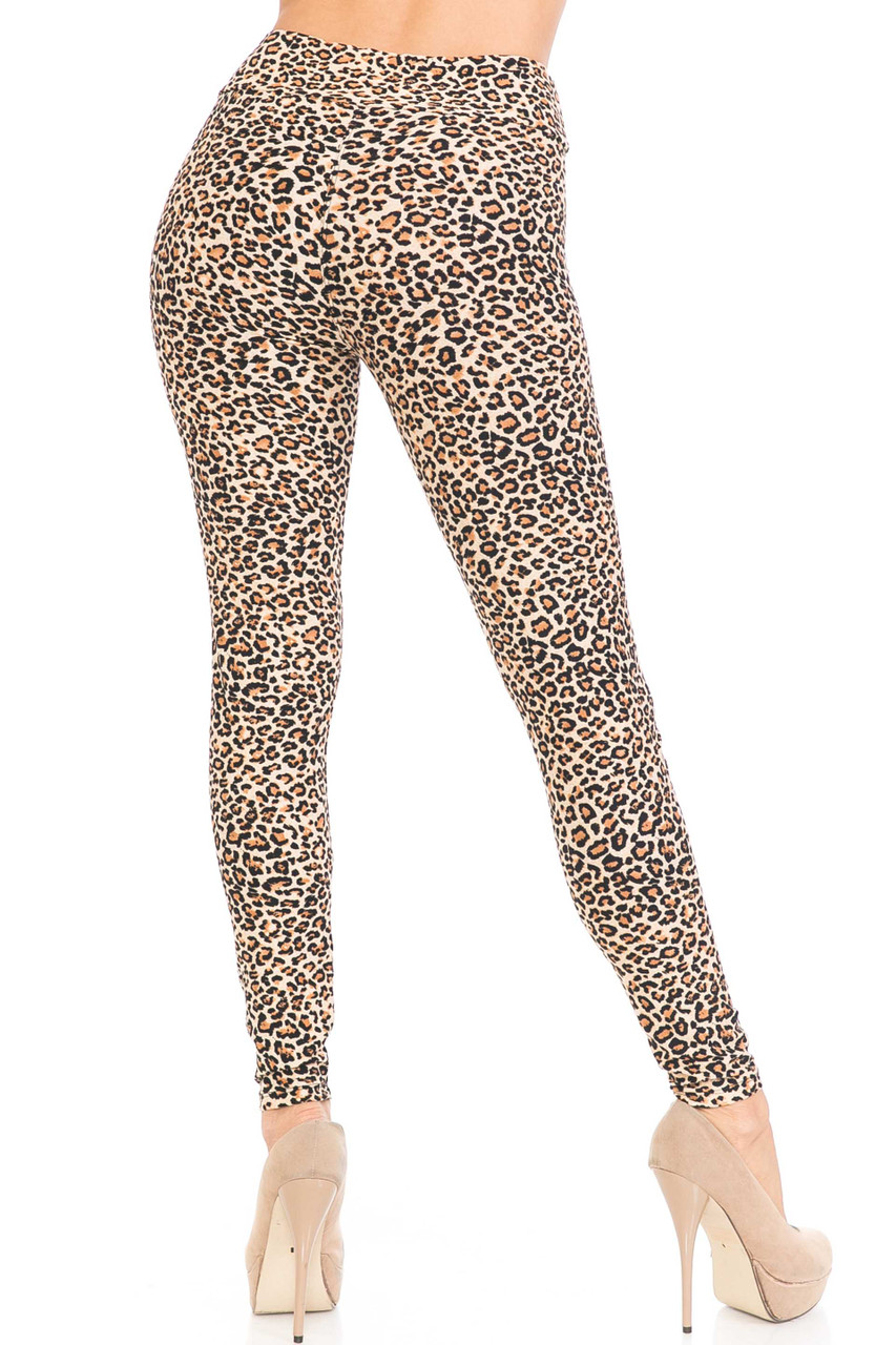 Rear view of body fitted Buttery Soft Savage Leopard Plus Size High Waisted Leggings