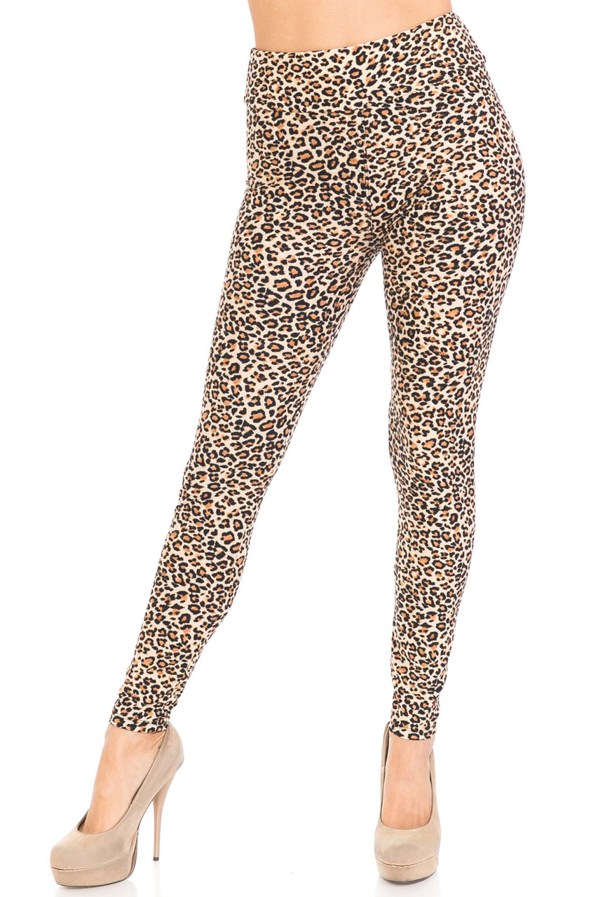 Front view of Buttery Soft Savage Leopard Plus Size High Waisted Leggings with a high fabric waist.