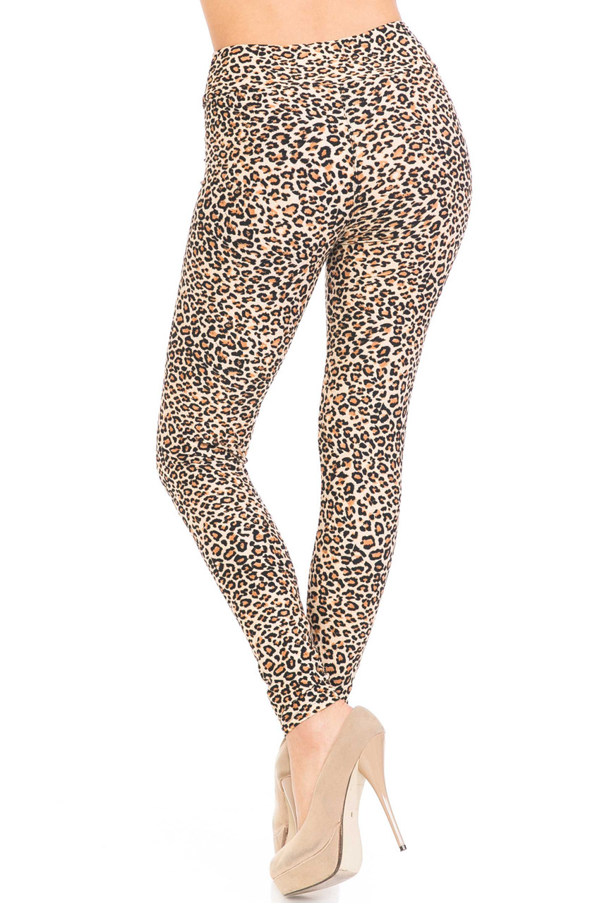Back view of Buttery Soft Savage Leopard Plus Size High Waisted Leggings showing the 360 print.