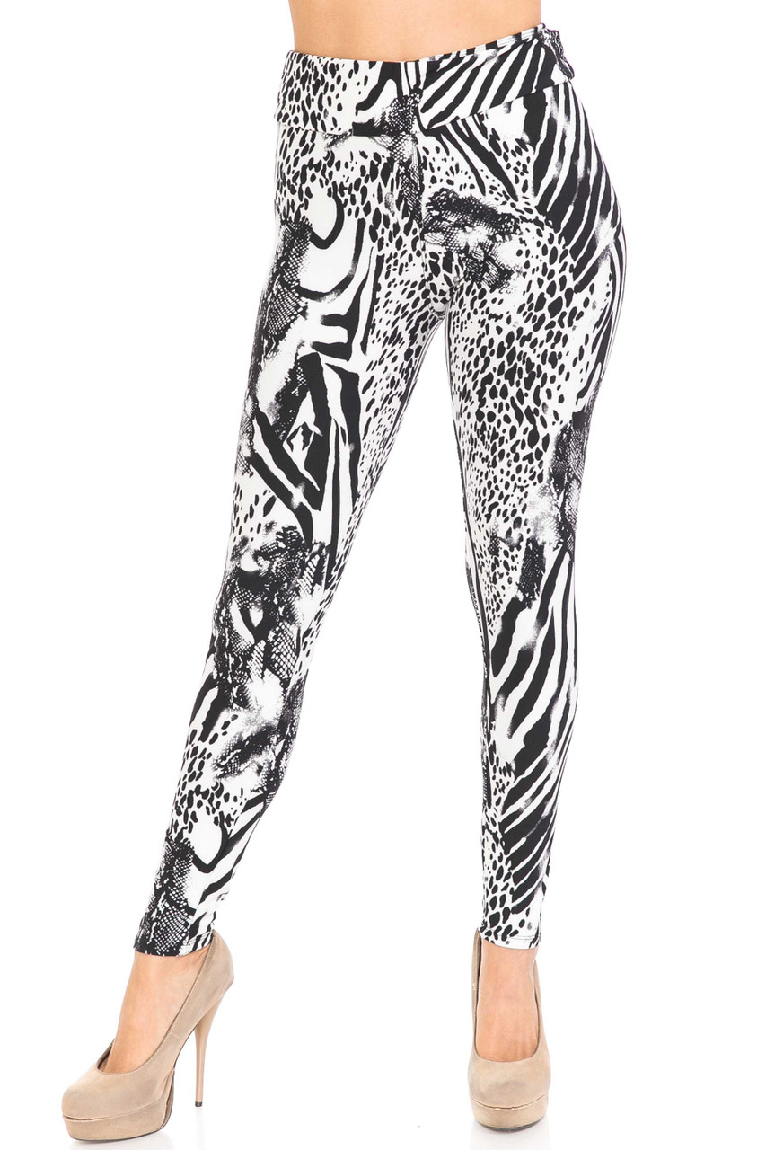 Front view of Buttery Soft Wild Safari High Waisted Leggings with a high fabric waist.