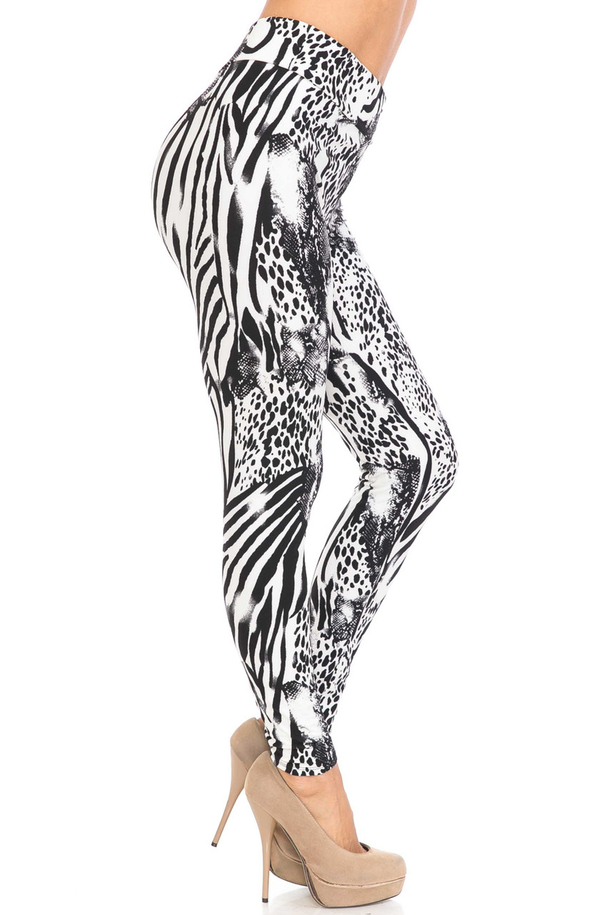 Right side view of Buttery Soft Wild Safari Plus Size High Waisted Leggings