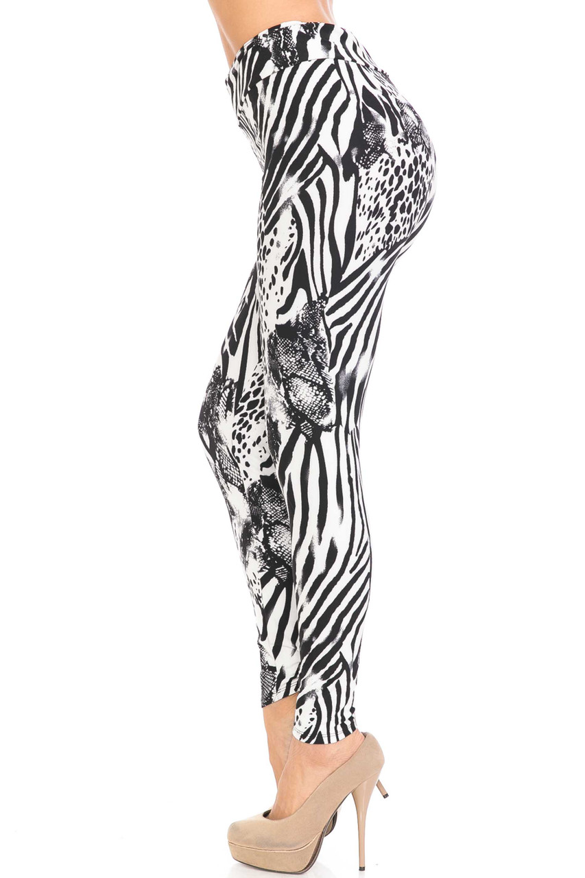 Left side view of Buttery Soft Wild Safari Plus Size High Waisted Leggings