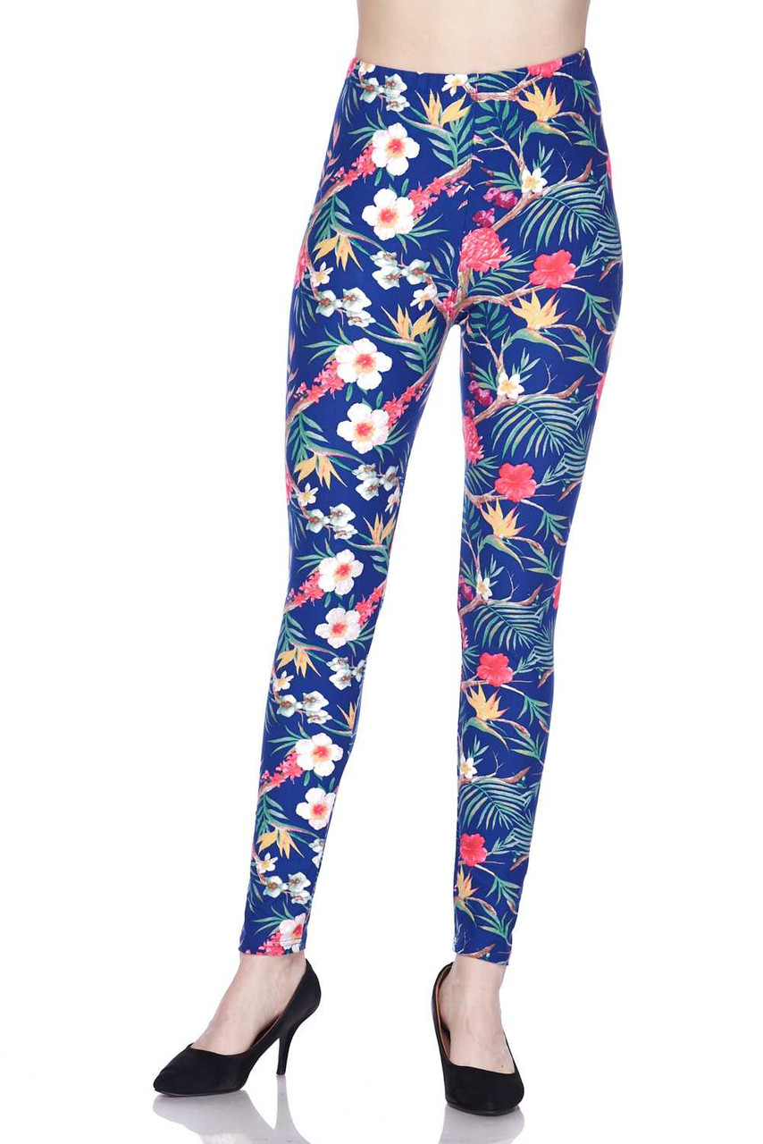 Front of Buttery Soft Elegant Flowing Floral Leggings with a full length hem.