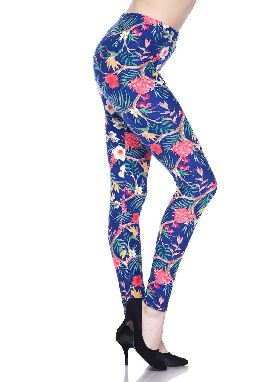 Right size view of Buttery Soft Elegant Flowing Floral Plus Size Leggings