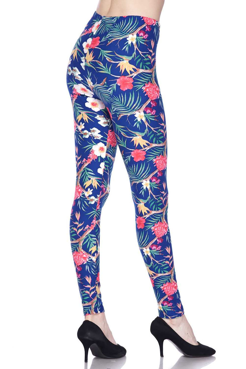 45 degree rear view of Buttery Soft Elegant Flowing Floral Plus Size Leggings