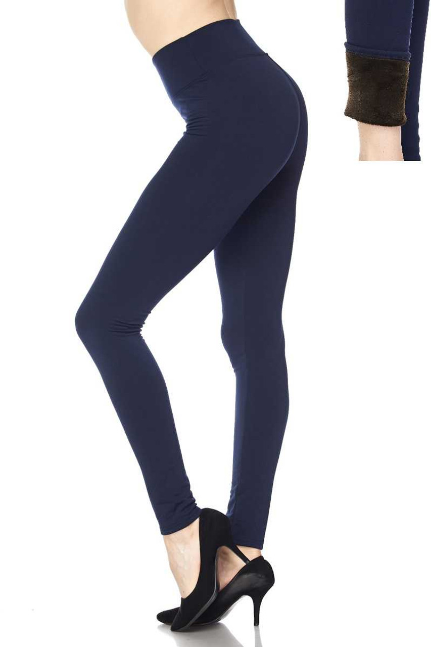 Left side of Navy Solid Warm Fur Lined High Waisted Leggings - 3 Inch