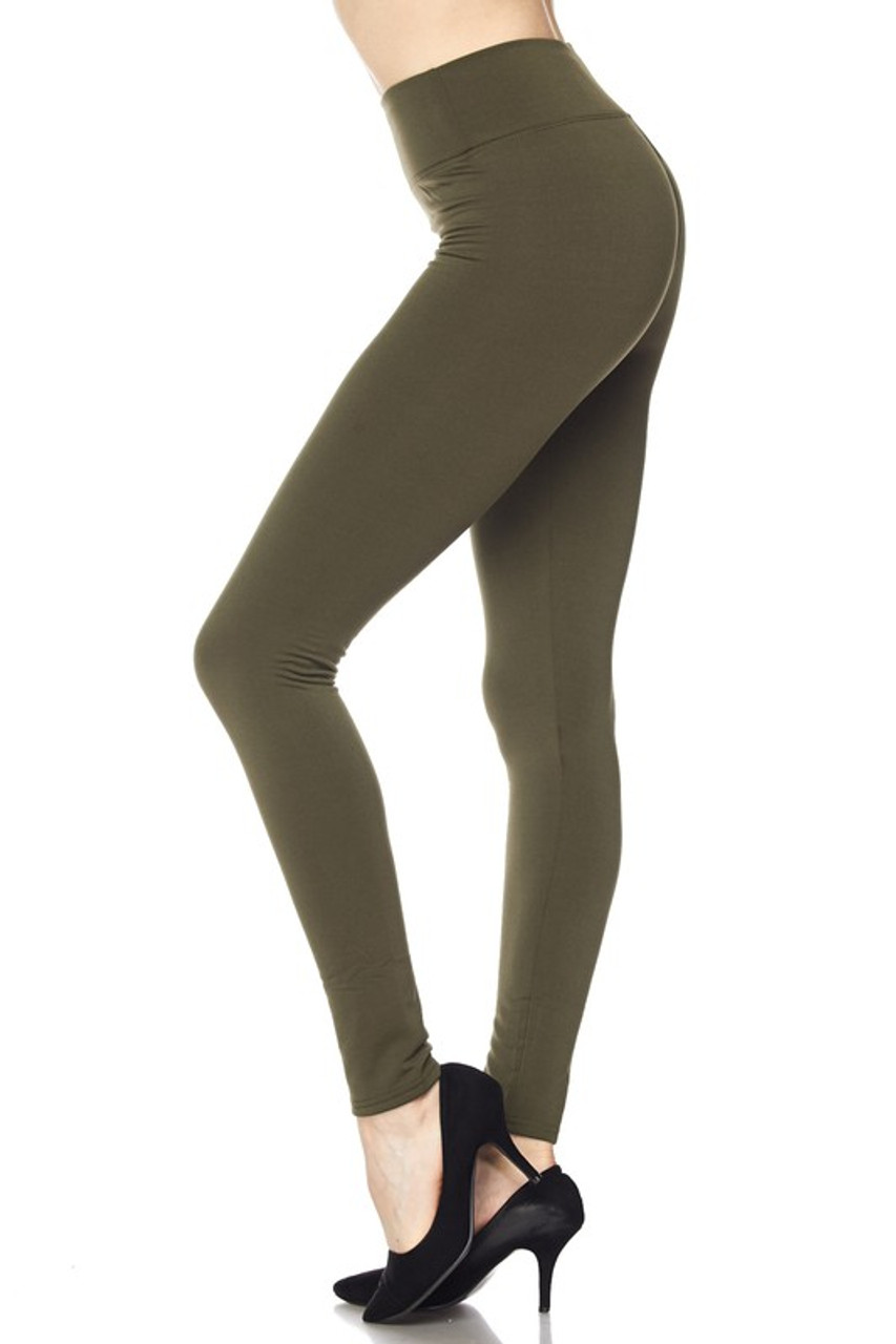 Left side of Olive Solid Warm Fur Lined High Waisted Leggings - 3 Inch