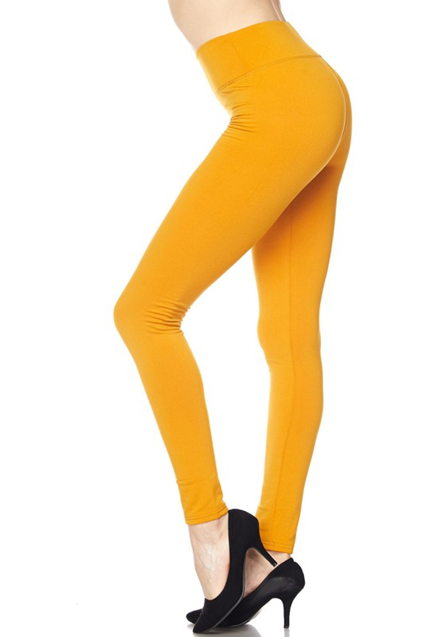Left side of Mustard Solid Warm Fur Lined High Waisted Leggings - 3 Inch