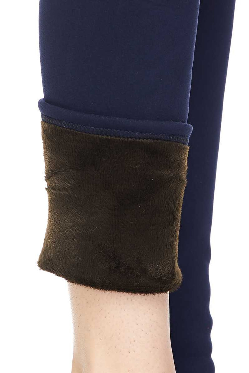 Close up view showing lining on Solid Warm Fur Lined High Waisted Leggings - 3 Inch