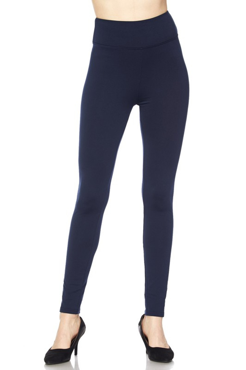 Front of Navy Solid Warm Fur Lined High Waisted Leggings - 3 Inch