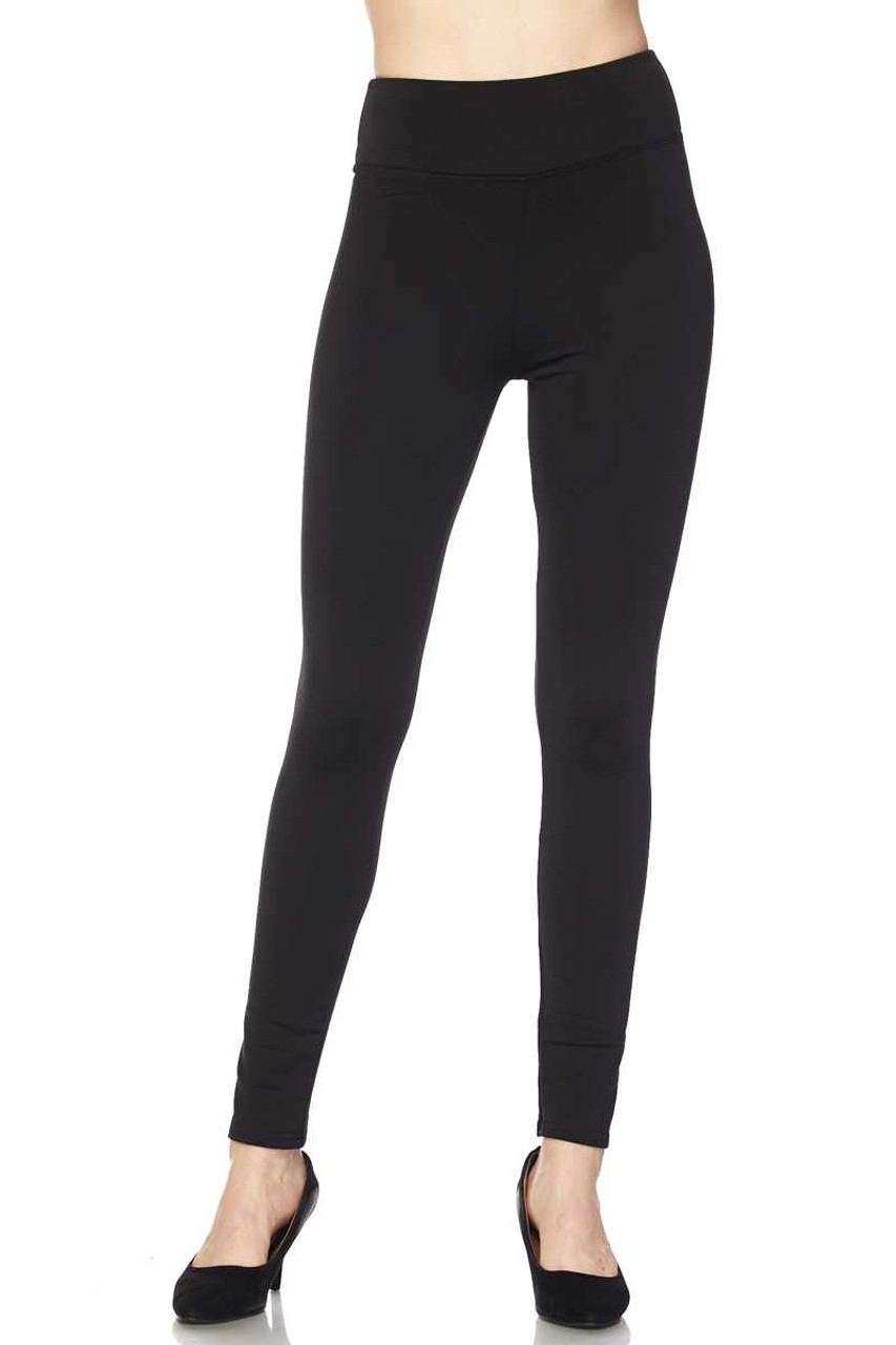 Front of Black Solid Warm Fur Lined High Waisted Leggings - 3 Inch