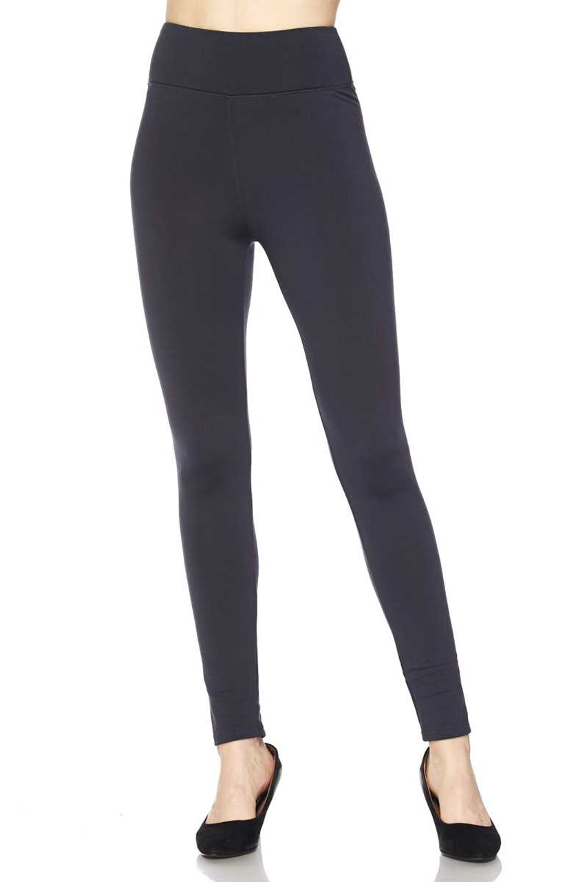 Front of Charcoal Solid Warm Fur Lined High Waisted Leggings - 3 Inch
