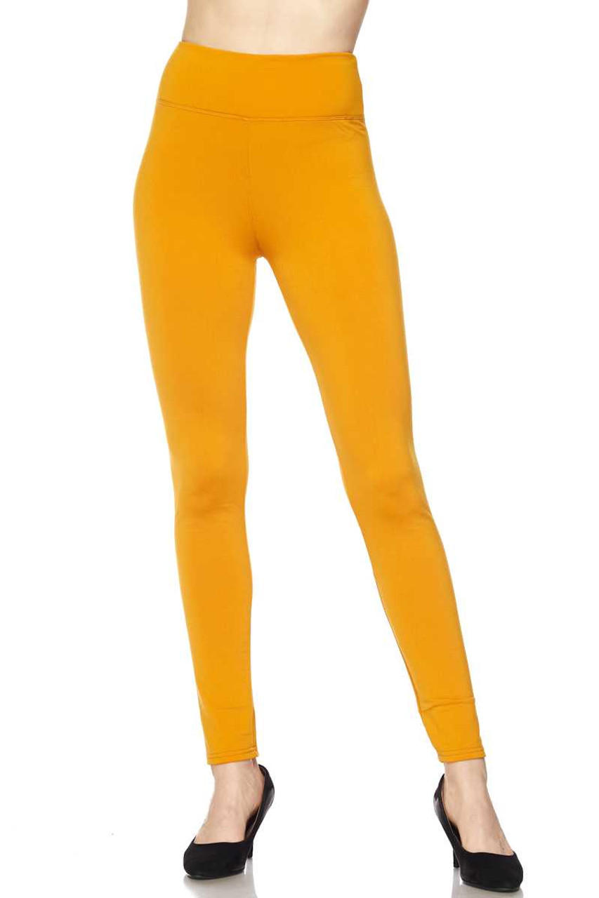 Front of Mustard Solid Warm Fur Lined High Waisted Leggings - 3 Inch