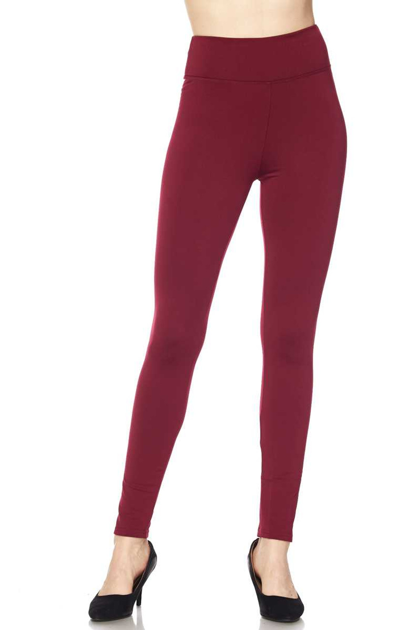 Front of Burgundy Solid Warm Fur Lined High Waisted Leggings - 3 Inch
