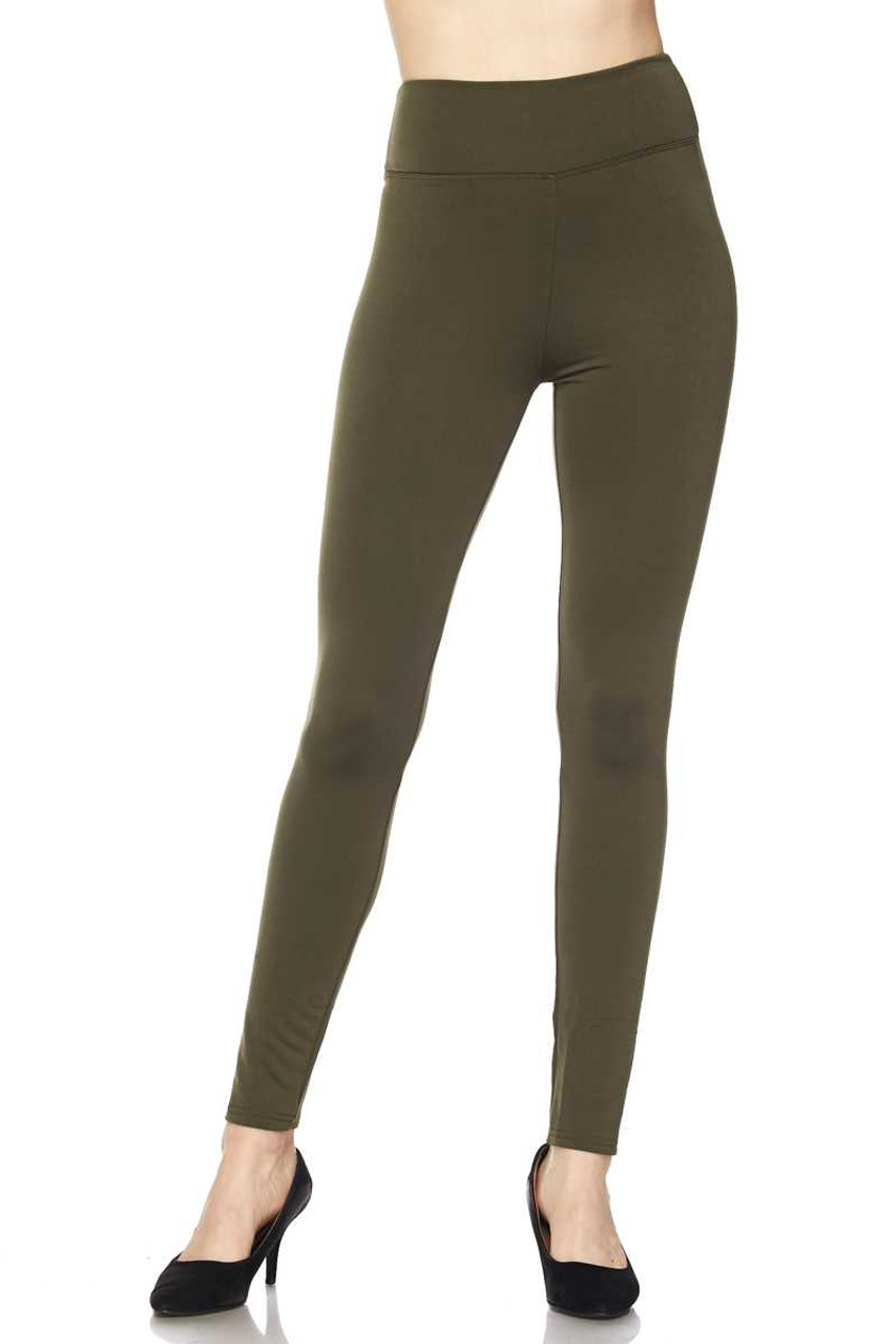 Front of Olive Solid Warm Fur Lined High Waisted Leggings - 3 Inch