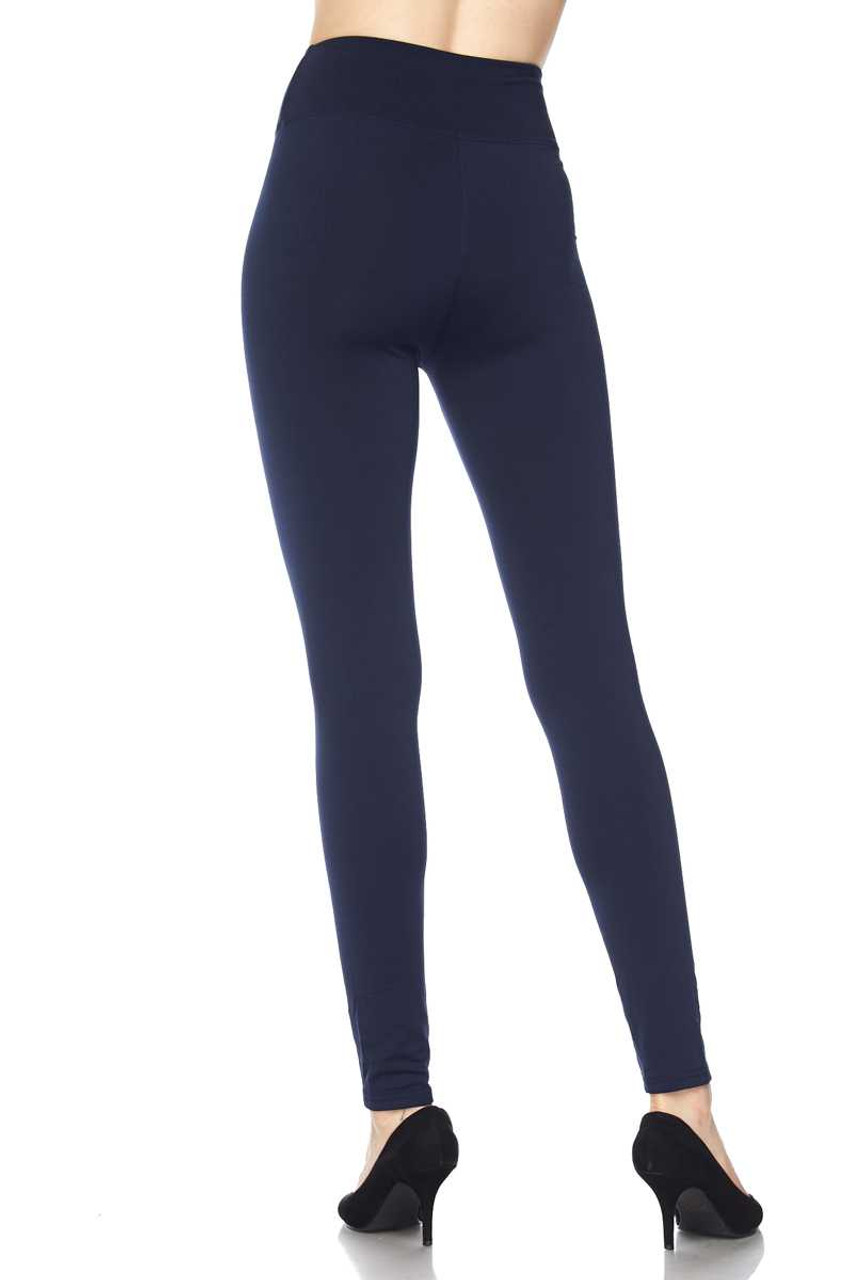 Back of Navy Solid Warm Fur Lined High Waisted Leggings - 3 Inch