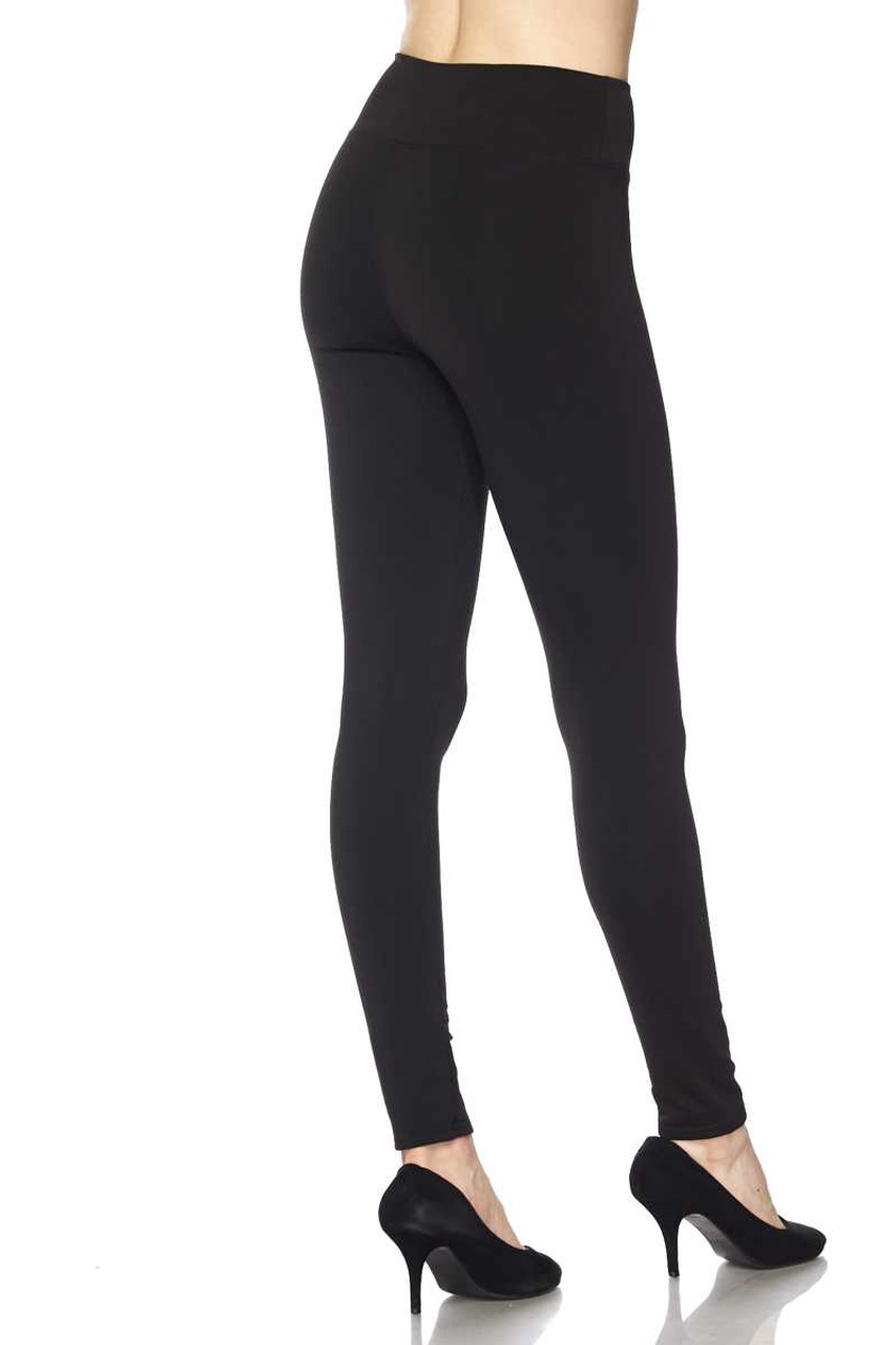 Back of Black Solid Warm Fur Lined High Waisted Leggings - 3 Inch