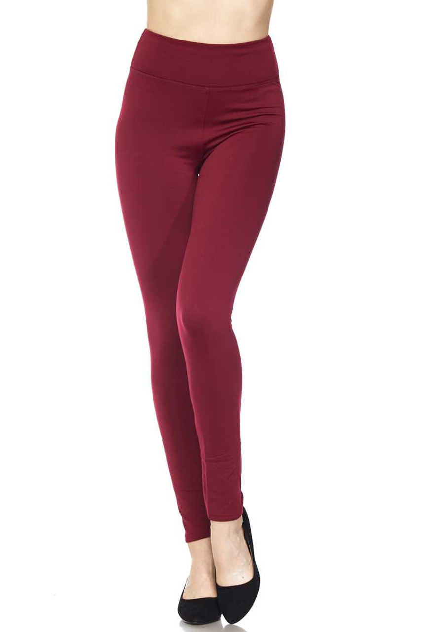 Front bent knee view of Burgundy Solid Warm Fur Lined High Waisted Leggings - 3 Inch