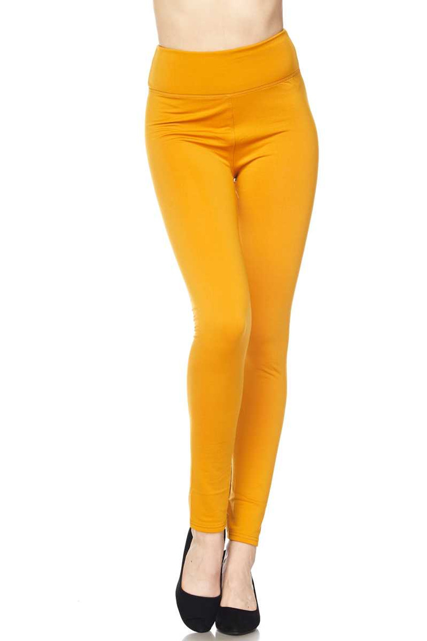 Front bent knee view of Mustard Solid Warm Fur Lined High Waisted Leggings - 3 Inch