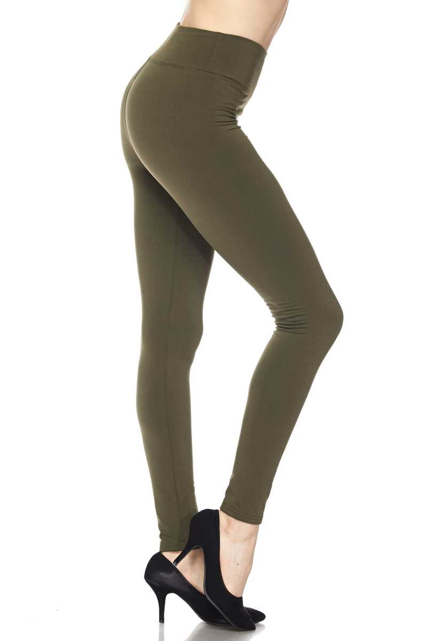 Right side view of Olive Solid Warm Fur Lined High Waisted Leggings - 3 Inch