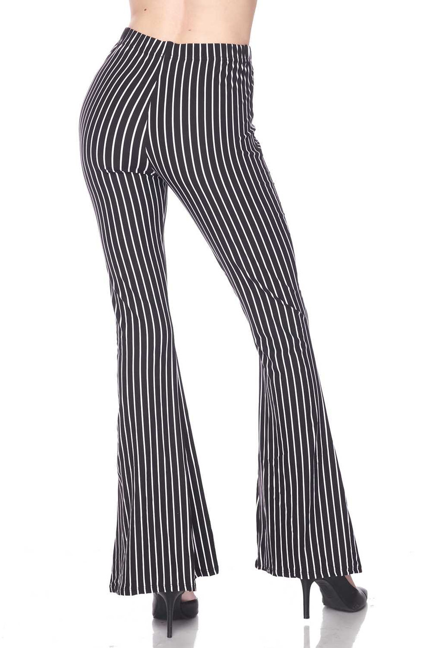 Rear view of Buttery Soft Pinstripe Bell Bottom Leggings with a fabulous look for any season.