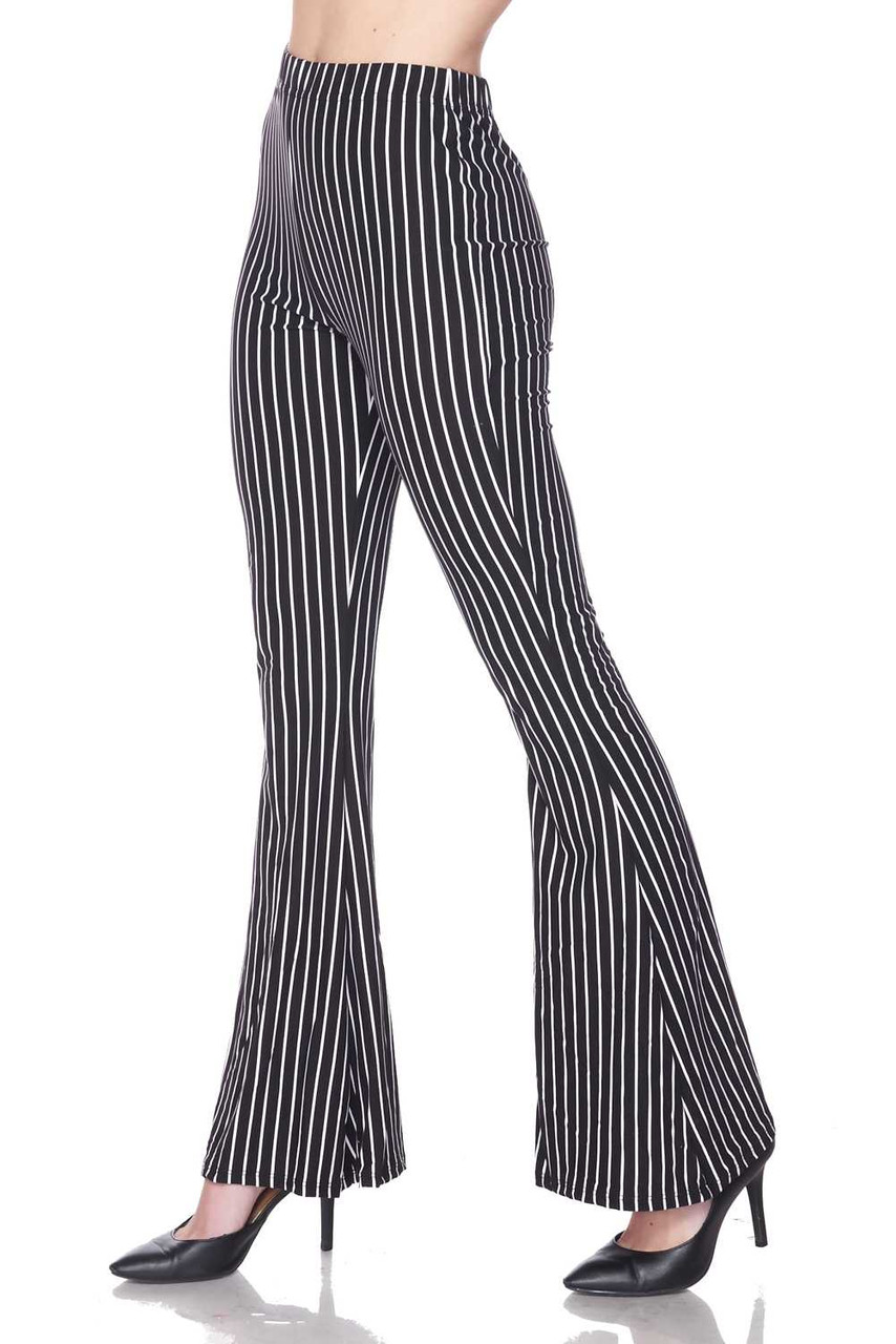 Left side view of Buttery Soft Pinstripe Bell Bottom Leggings with a cool retro flared leg cut.