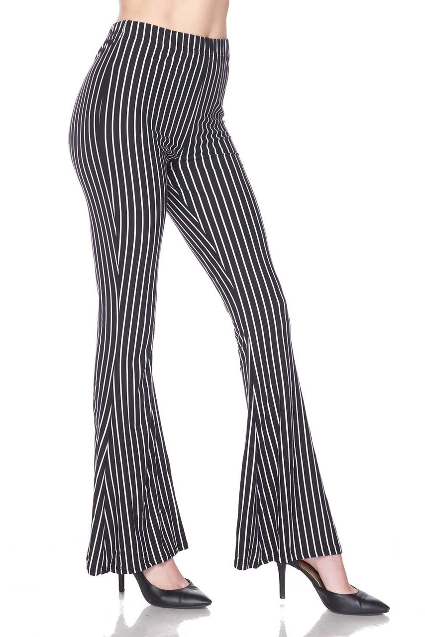 Right side view of Buttery Soft Pinstripe Bell Bottom Leggings