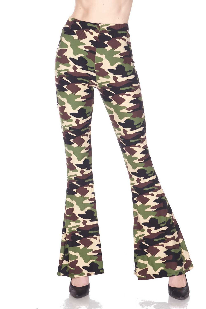 Front side view of Buttery Soft Active Duty Camouflage Bell Bottom Leggings with a trendy camo design