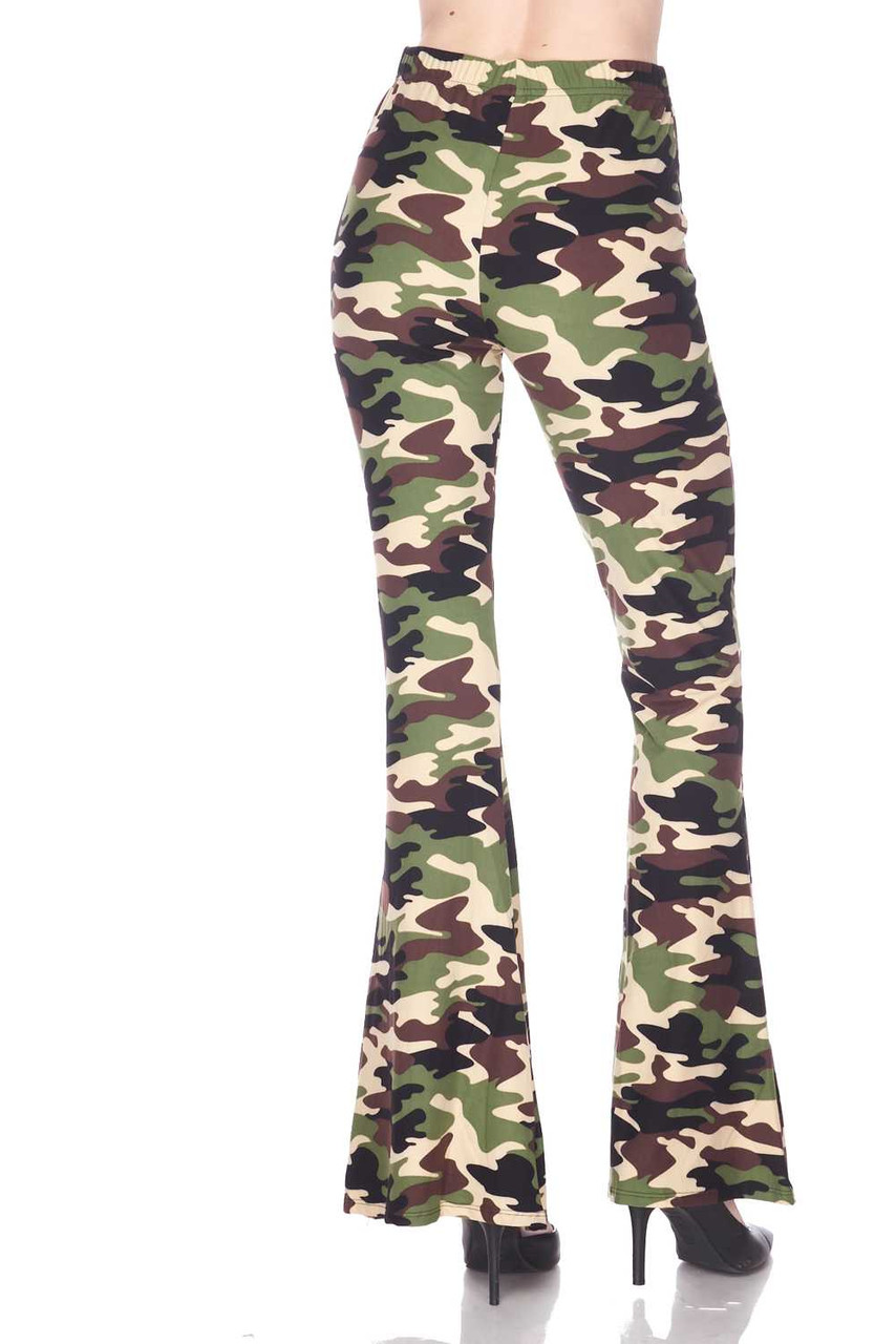 Rear view of Buttery Soft Active Duty Camouflage Bell Bottom Leggings featuring a cool retro flared leg cut.