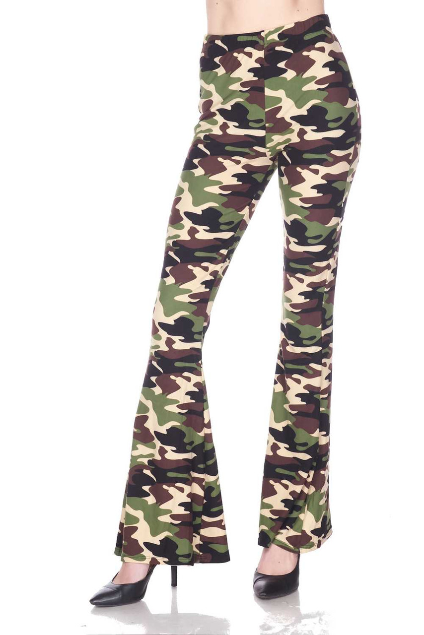 Front image of Buttery Soft Active Duty Camouflage Bell Bottom Leggings