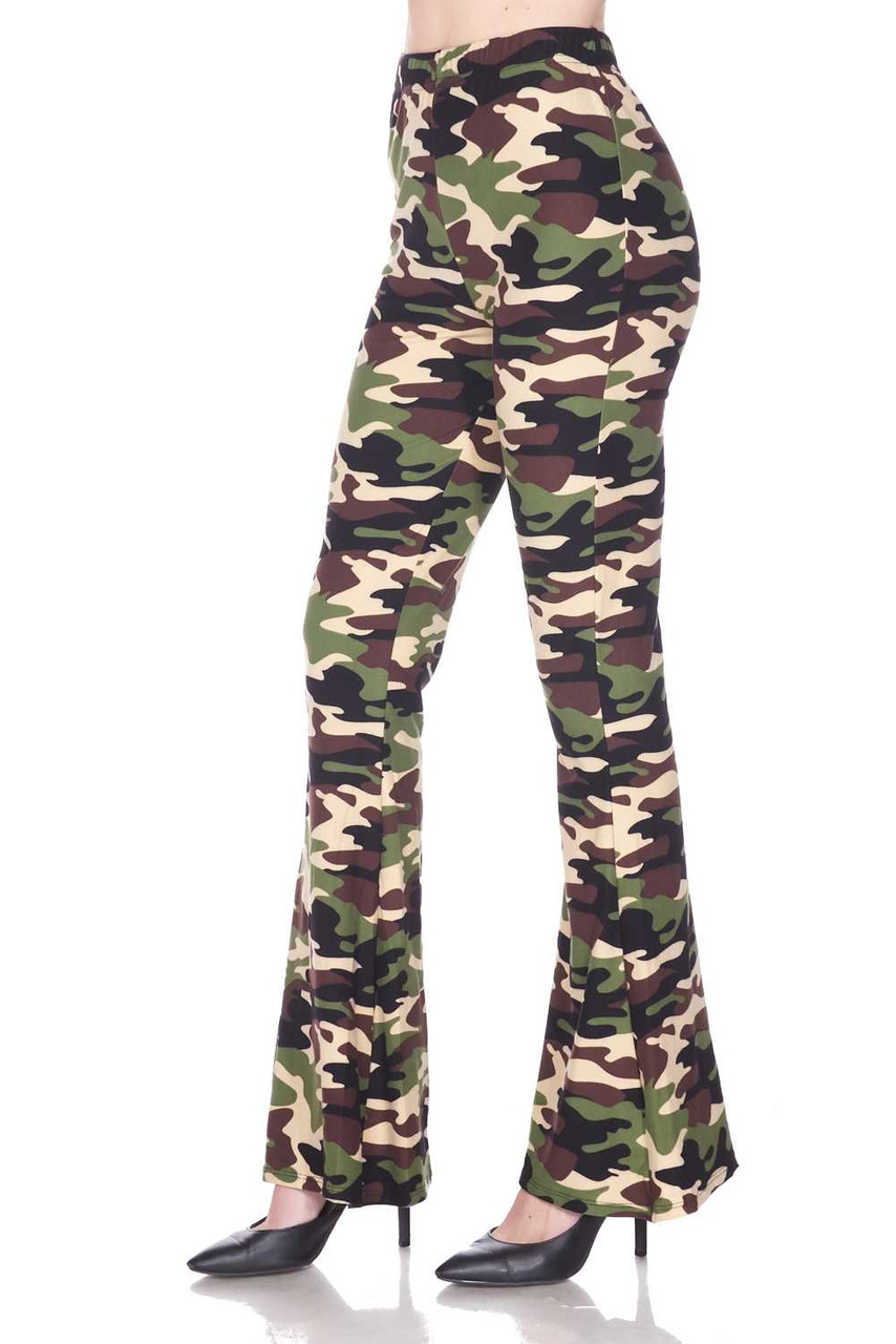 Left side image of Buttery Soft Active Duty Camouflage Bell Bottom Leggings