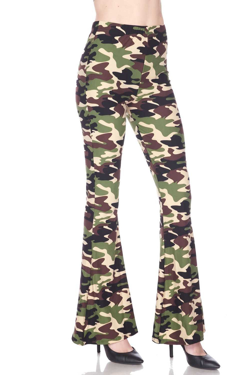 Right side image of Buttery Soft Active Duty Camouflage Bell Bottom Leggings