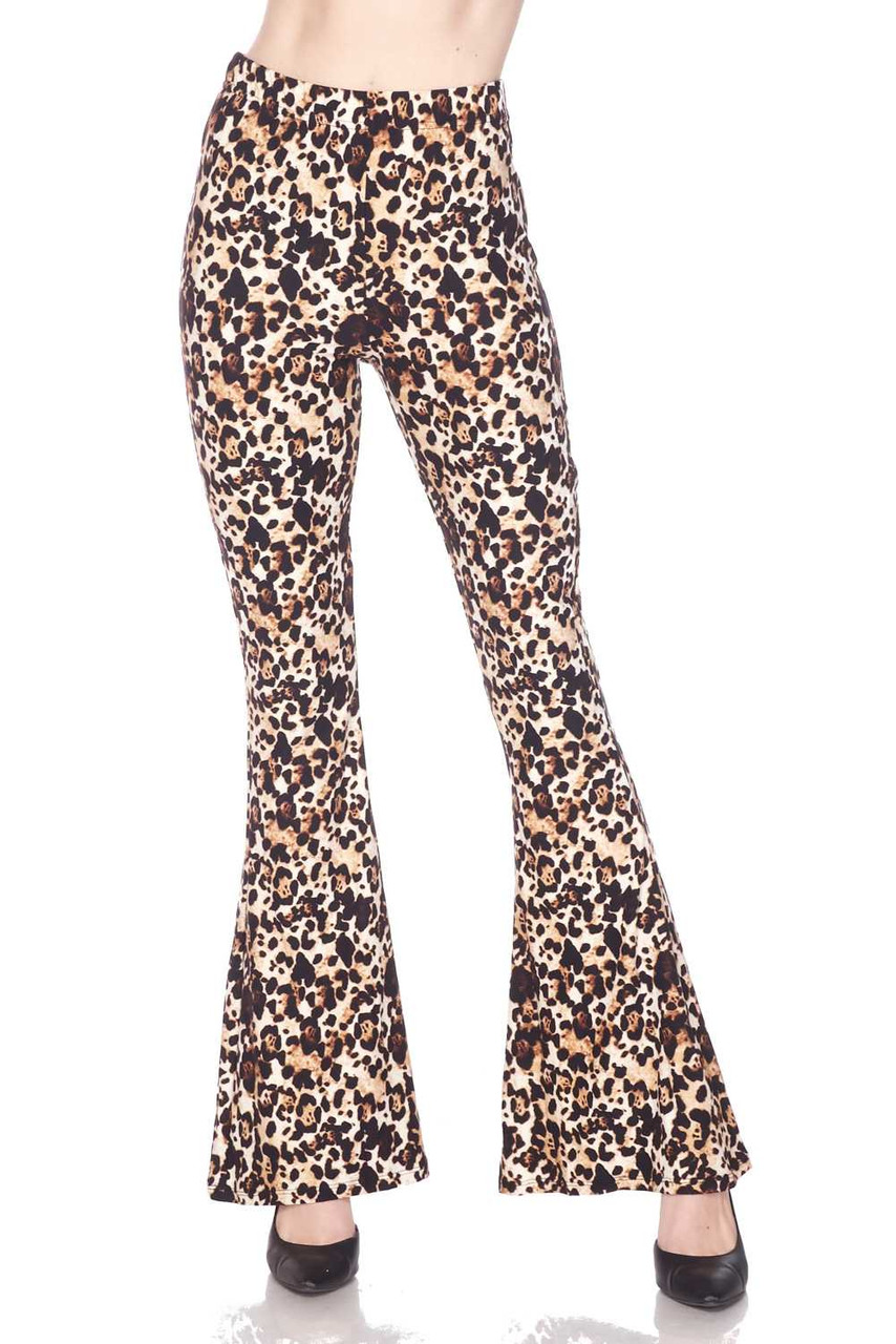 Front view of Buttery Soft Metro Leopard Bell Bottom Leggings with a sassy all over animal print design.