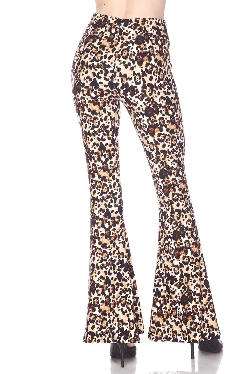 Rear view image of Buttery Soft Metro Leopard Bell Bottom Leggings featuring a fabulous retro flared leg cut.