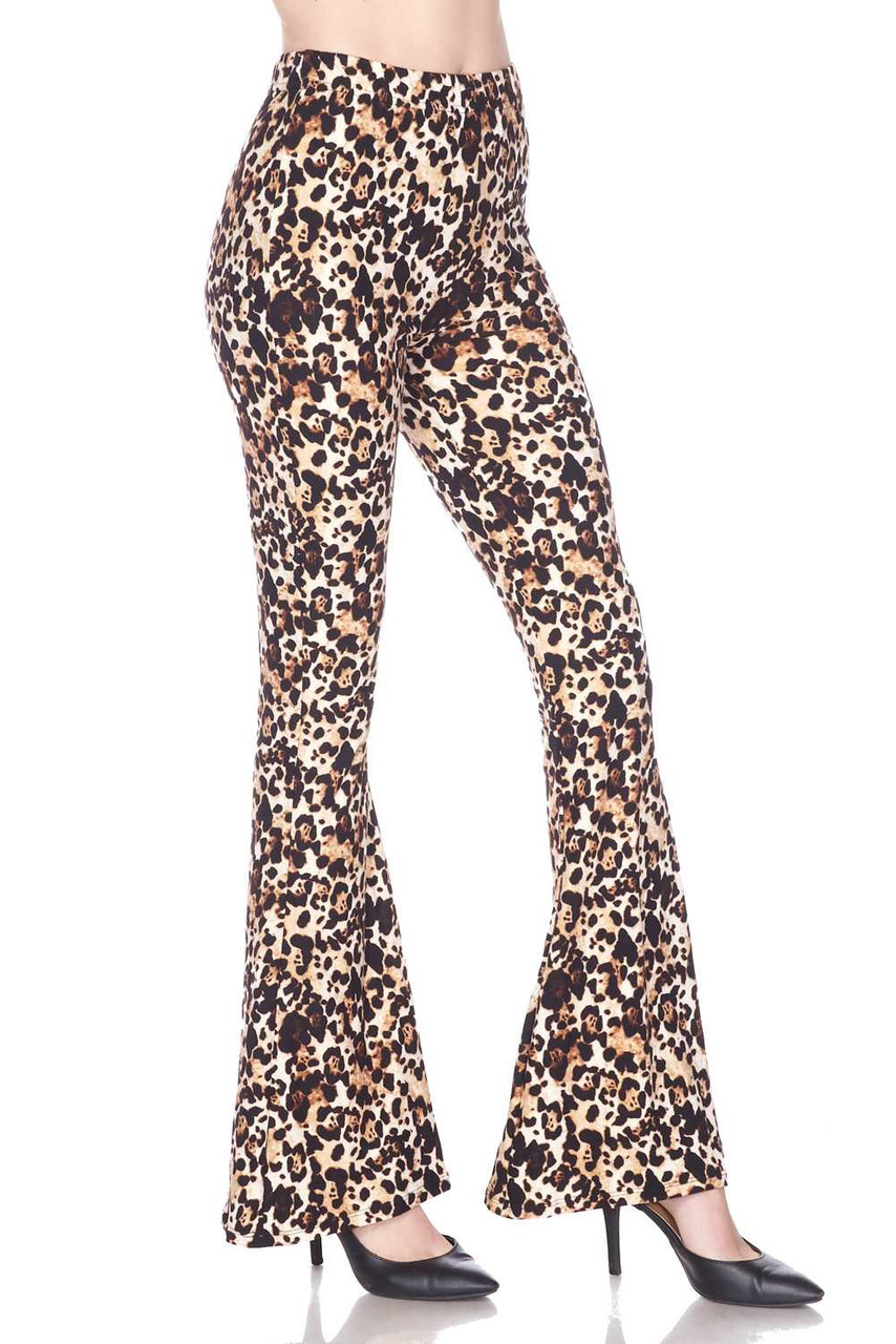 Right side view of Buttery Soft Metro Leopard Bell Bottom Leggings