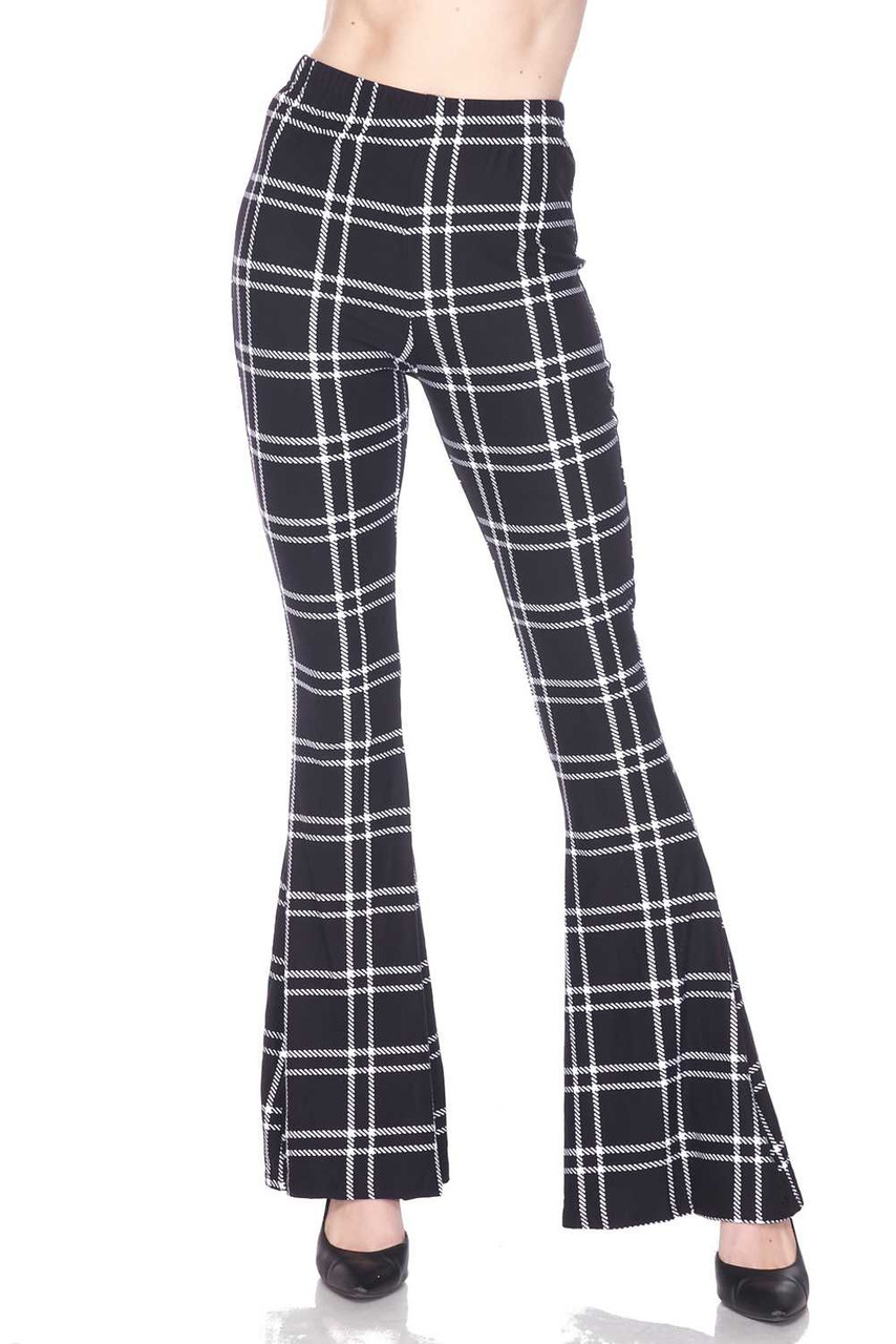 Front view of Buttery Soft Midnight Dashed Plaid Bell Bottom Leggings with an any season neutral plaid design.