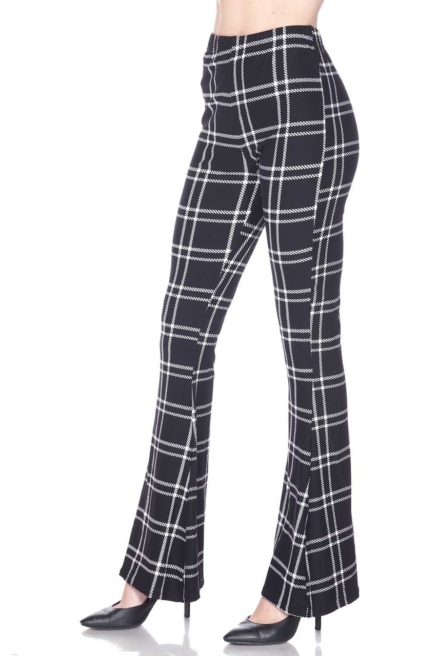 Left side view of Buttery Soft Midnight Dashed Plaid Bell Bottom Leggings