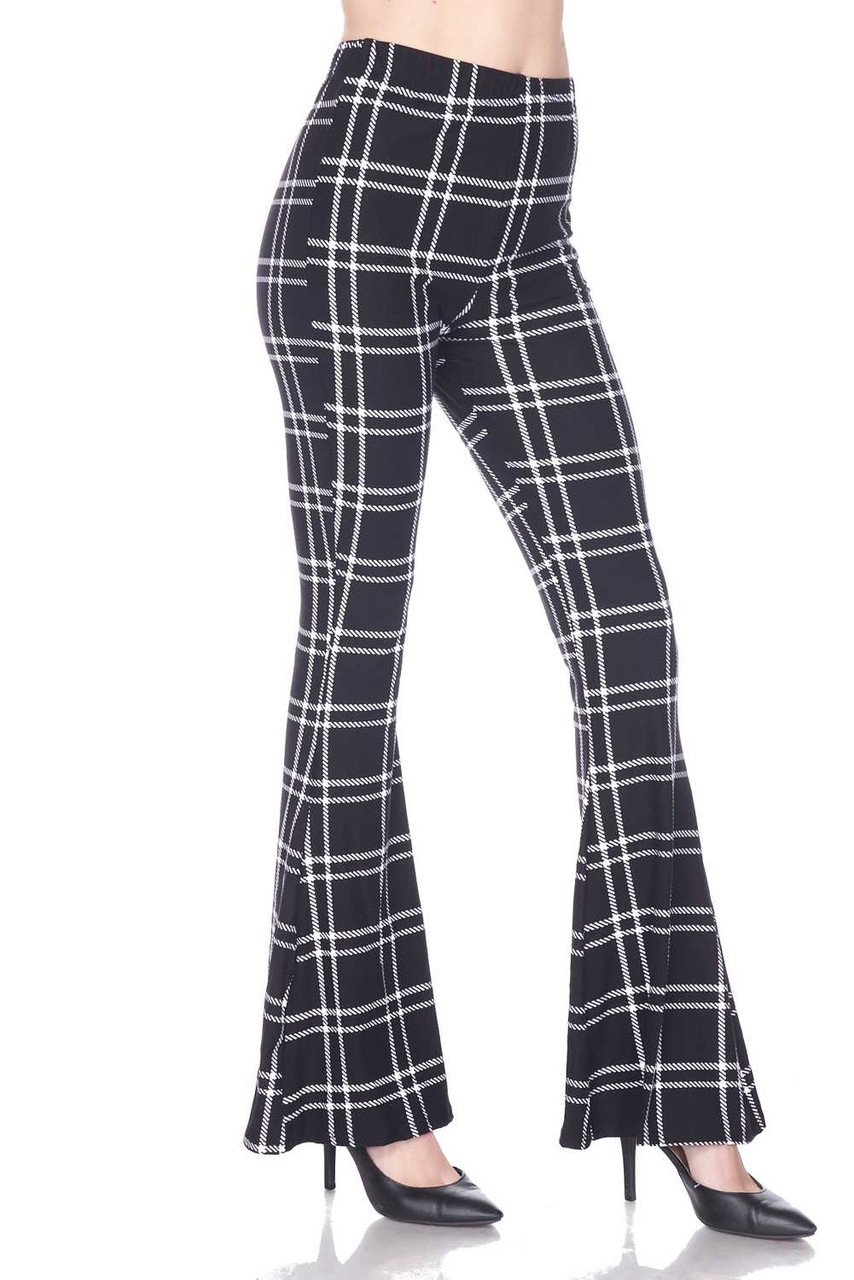 Right side view of Buttery Soft Midnight Dashed Plaid Bell Bottom Leggings
