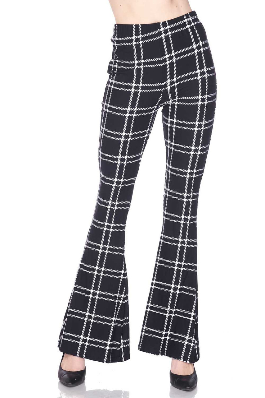 Front side image of Buttery Soft Midnight Dashed Plaid Bell Bottom Leggings